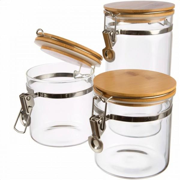 Borosilikatglas Set luftdicht von Dosenritter fuer Protein Kakao Zucker Cornflakes