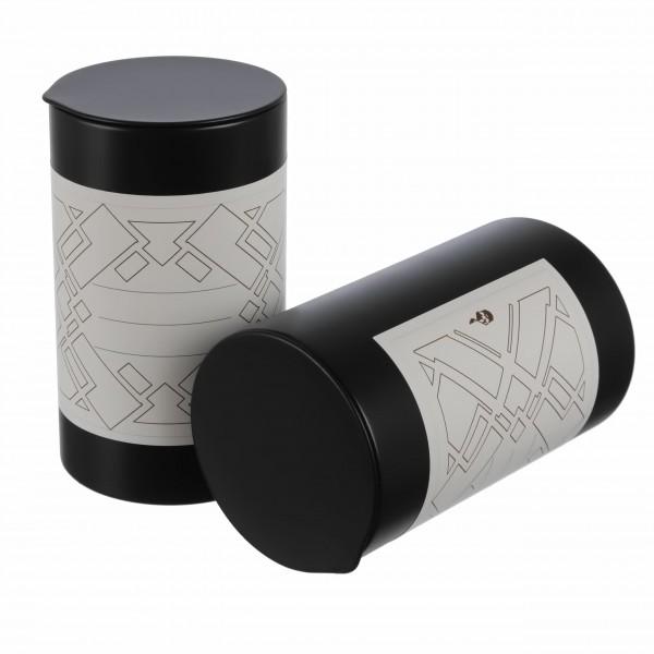 schwarze runde aromaschutz Gewürzdosen aus Metall mit grafischem Kleebeetiketten von Dosenritter