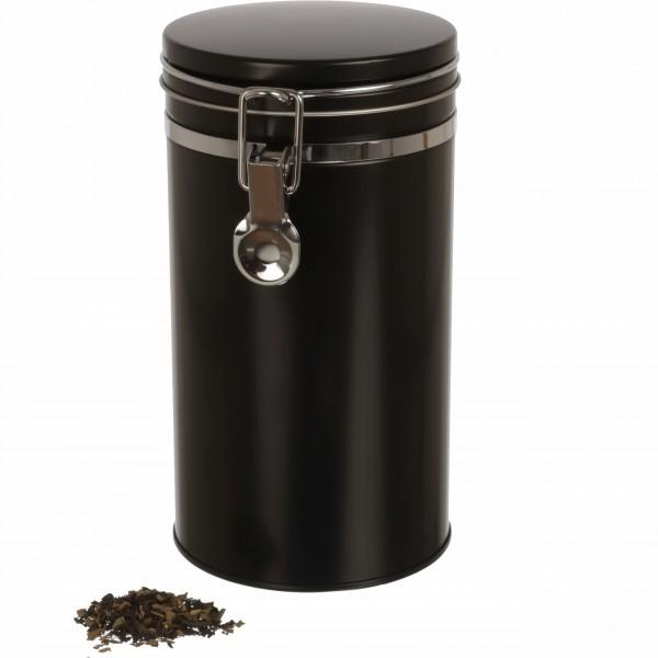 Kaffeedose KOFI schwarz rund luftdicht 530g Kaffeepulver