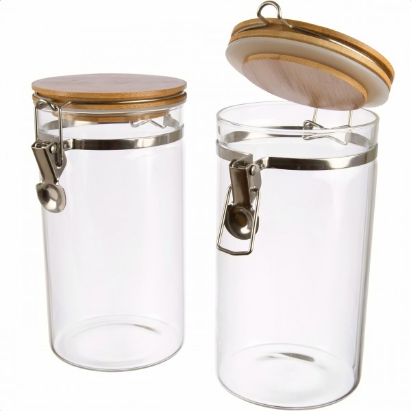 2er Set   Borosilikatglas Kaffeedose mit Bambusdeckel luftdicht rund mit Bügelverschluss