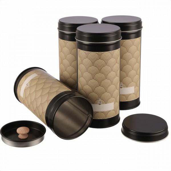 4er Set THEA | puristische Teedose mit Aromaschutzdeckel, stapelbar inkl. 4 Art déco Klebeetiketten