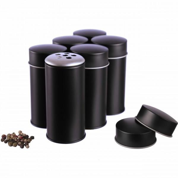 schwarze runde Gewürzstreuer NEKA 6 grobe  Streuaufsätze mit Deckel