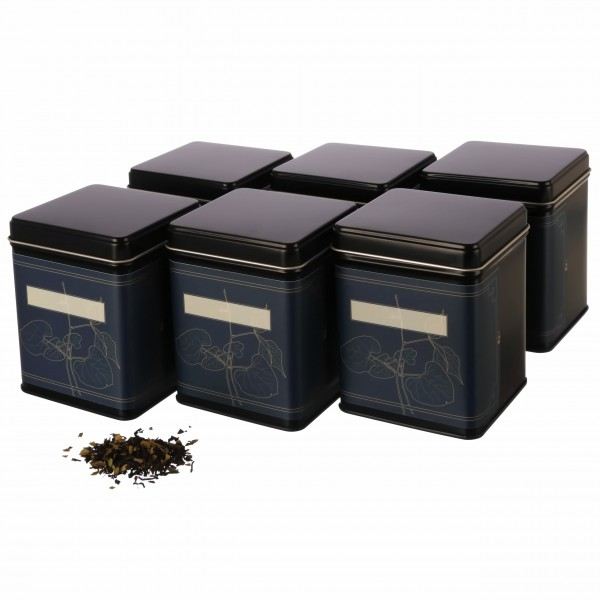 Teedosen Set WATSON schwarz eckig aus Metall mit Klebeetiketten von Dosenritter
