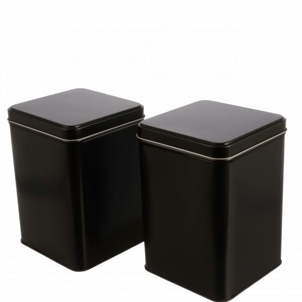 schwarzes klassisches Teedosen Set EARL abgerundete ecken aus Metall