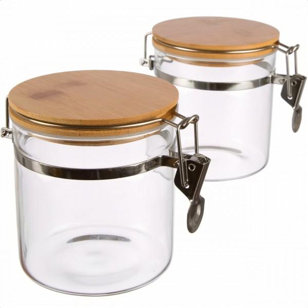 2er Set | Borosilikatglas Vorratsdose mit Bambusdeckel luftdicht, rund mit Bügelverschluss