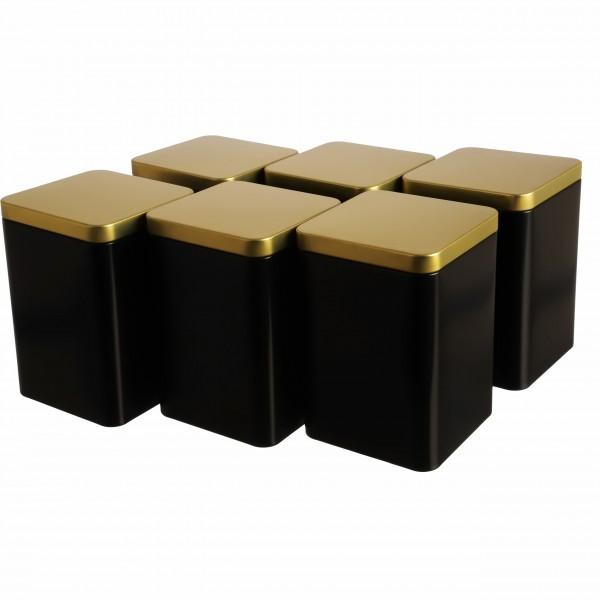 Teedosen GOLDI im 6er-Set schwarz gold eckig zeitlos Aromaschutz von Dosenritter