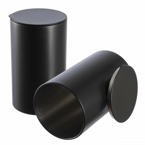 schwarze Gewürzdose RUBA runde aromaschutz Metalldose offen von Dosenritter