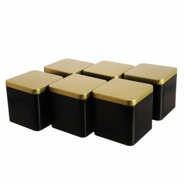 Teedosen GOLDI  JUNIOR im 6er-Set schwarz gold eckig nobel aus Metall von Dosenritter