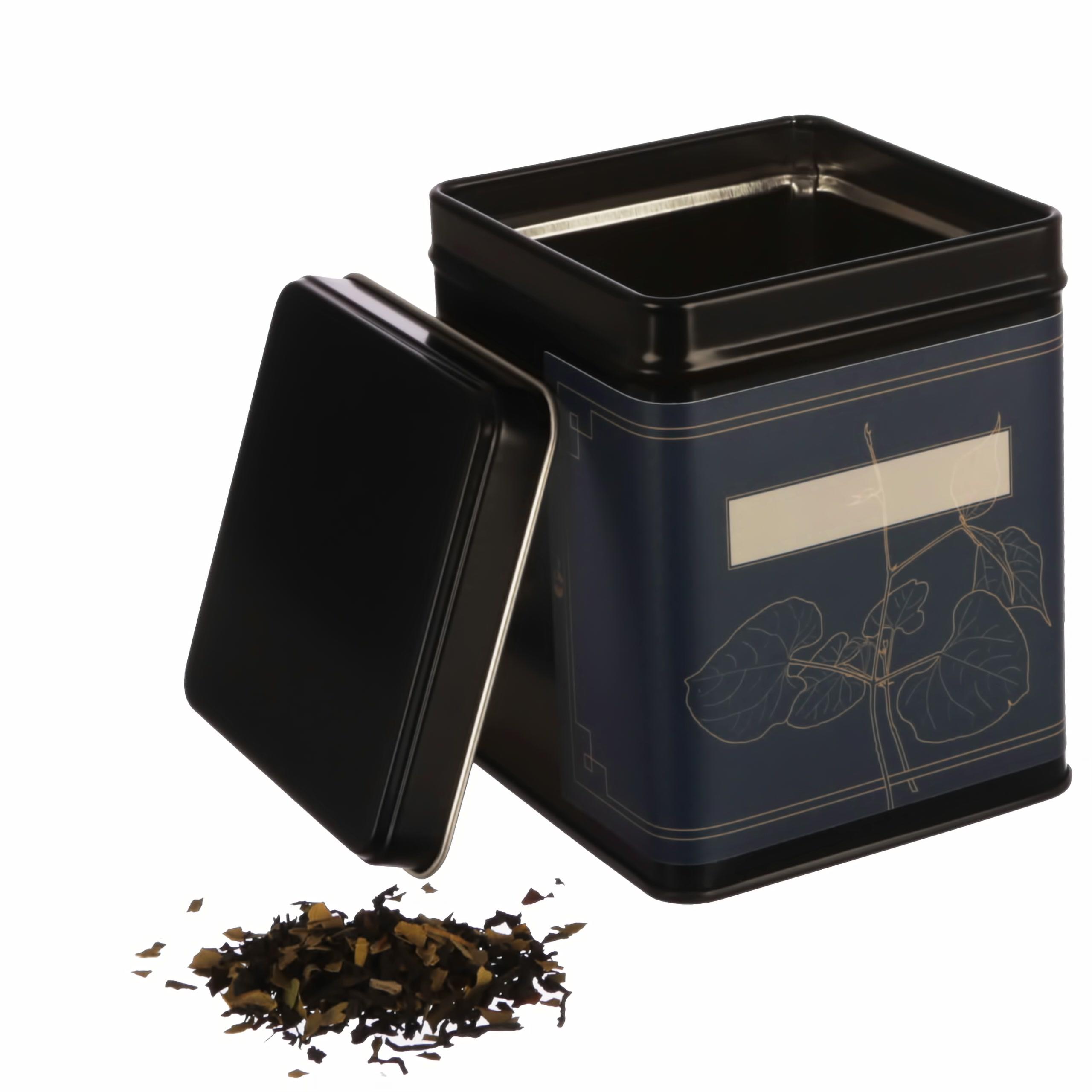 Teedose WATSON schwarz eckig offen fuer losen Tee mit Klebeetiketten von Dosenritter