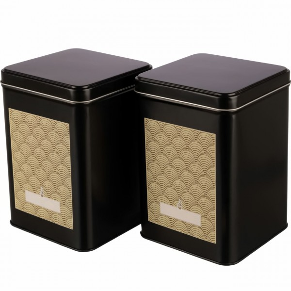 schwarzes klassisches Teedosen Set EARL inkl. Art deko Etiketten ecken aus Metall