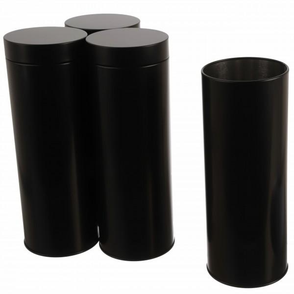schwarze runde elegante Kaffeepaddosen im 4er Set